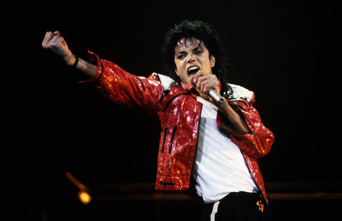 Michael Jackson performs in concert circa 1986.