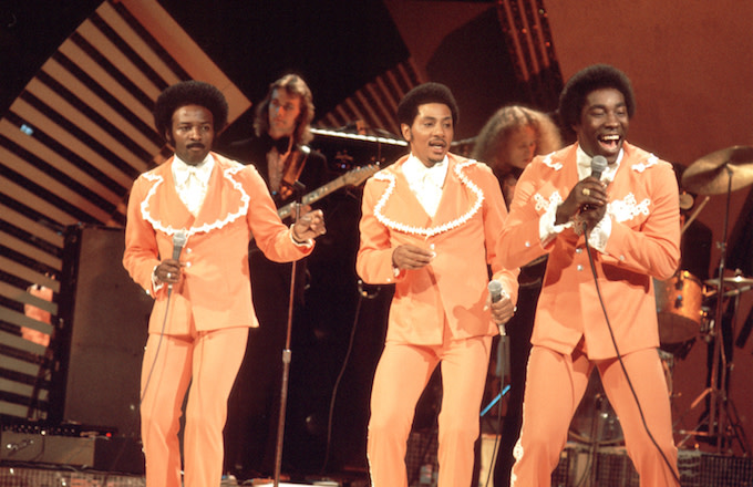 Photo of O'Jays performing.