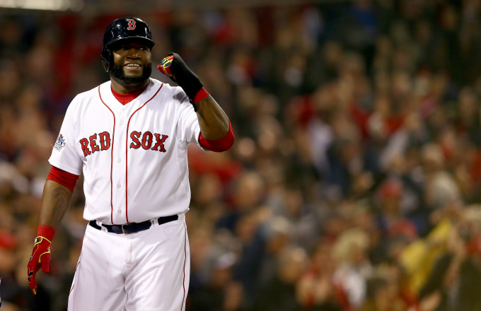 David Ortiz #34 of the Boston Red Sox celebrates after scoring in the third inning