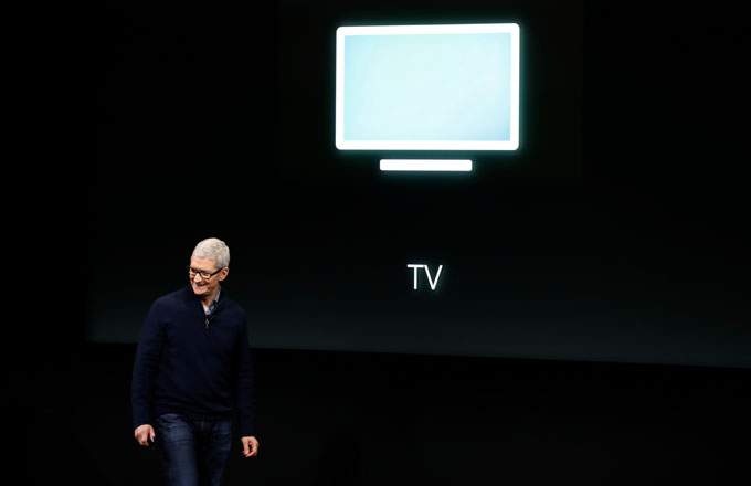 Tim Cook at an Apple unveiling event.