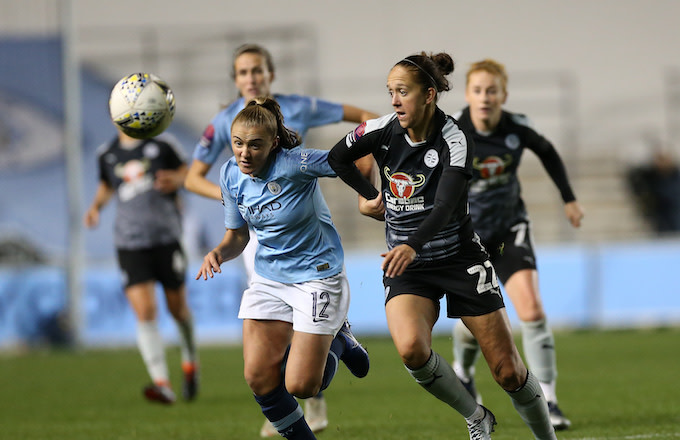 Georgia Stanway of Manchester City Women and Jo Potter of Reading FC Women.