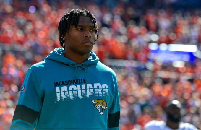 Jalen Ramsey #20 of the Jacksonville Jaguars walks onto the field