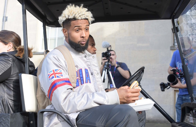 Odell Beckham Jr. hangs out with the fans.