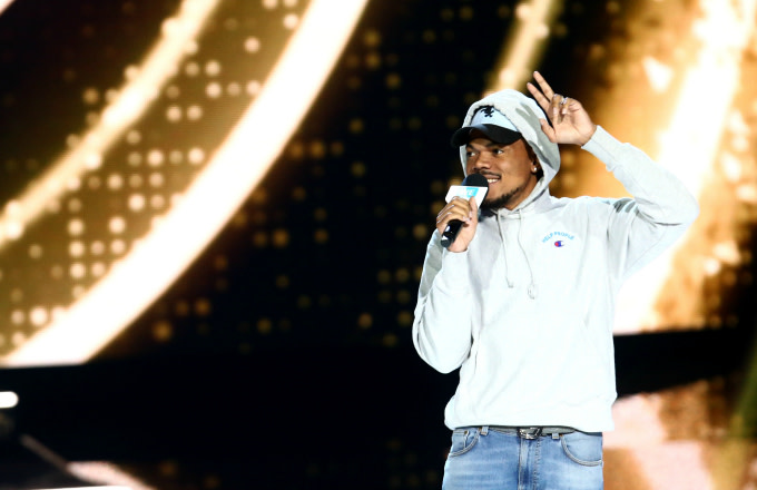 Chance The Rapper speaks onstage at WE Day California