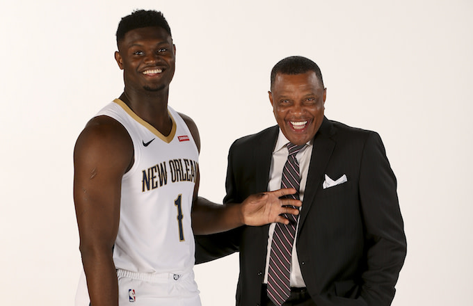 Alvin Gentry and Zion Williamson pose for a portrait.