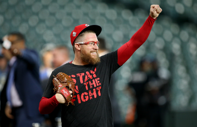 Sean Doolittle #63 of the Washington Nationals warms up during batting practice