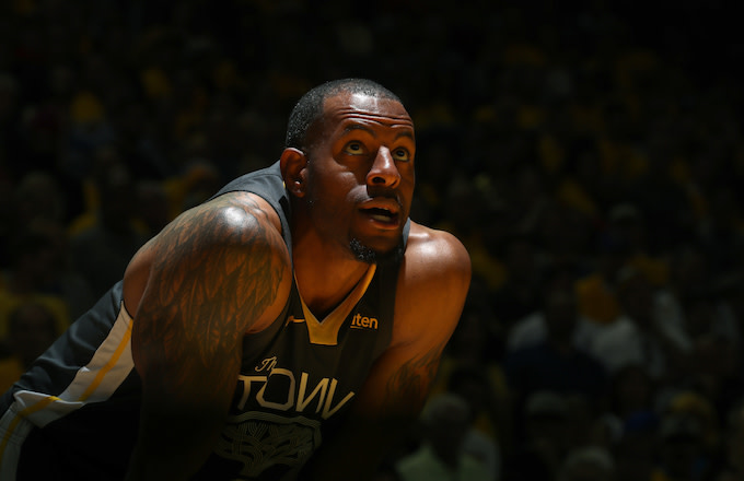 Andre Iguodala looks on during Game Four of the NBA Finals.