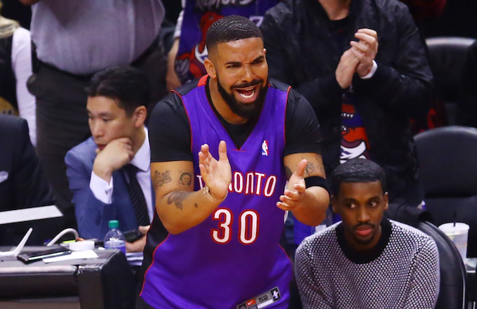Drake reacts during Game One of the 2019 NBA Finals.