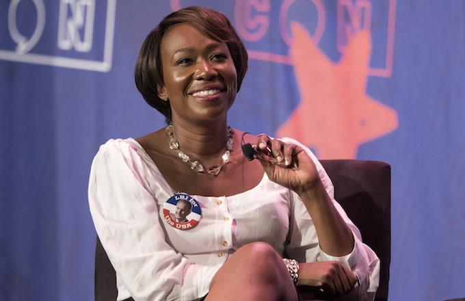 Joy-Ann Reid speaks during Politicon at the Pasadena Convention Center in Pasadena, California.