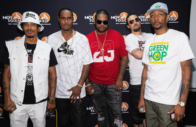 Bone Thugs n Harmony pose for a photo back stage during the All Star Throwback Jam.