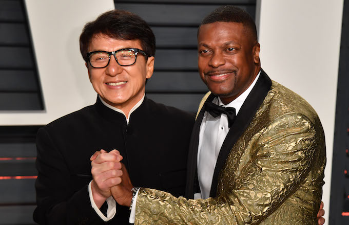 Jackie Chan and Chris Tucker attend the 2017 Vanity Fair Oscar Party.