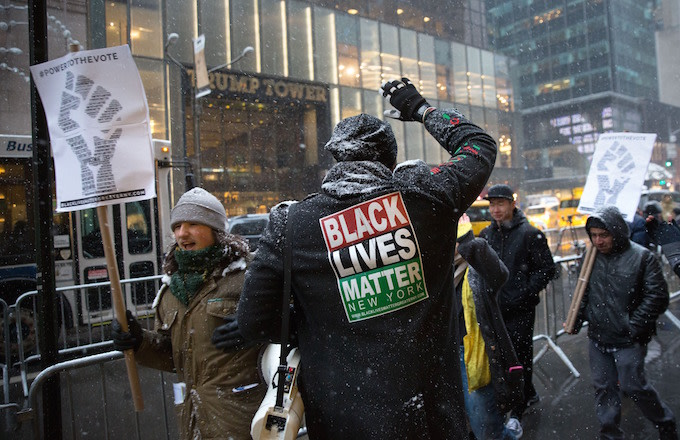 Black Lives Matter activists march in front of Trump Tower