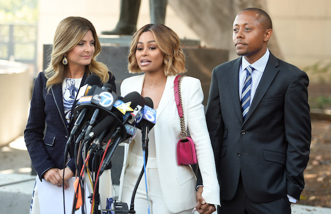 Lisa Bloom, Blac Chyna and Walter Mosley speak during a pre-court hearing press conferencr.