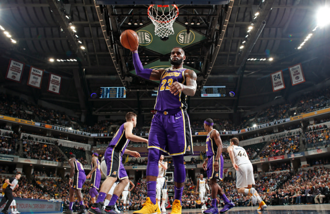LeBron James #23 of the Los Angeles Lakers looks on during the game