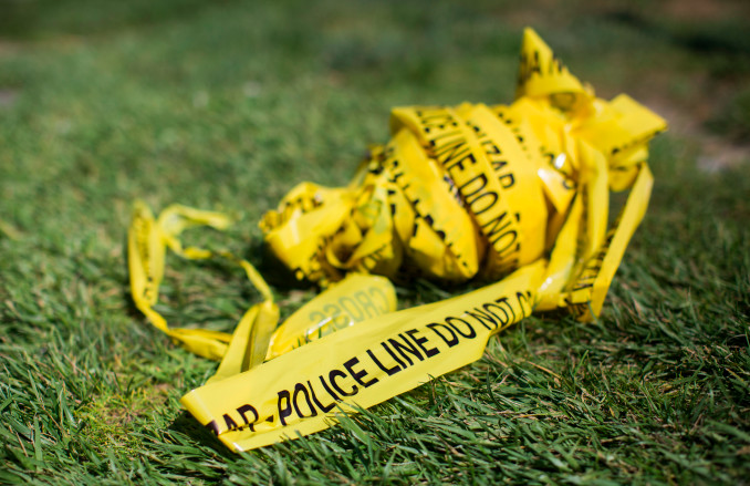 A bundle of police crime scene tape