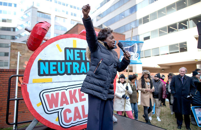 A protest against the repeal of net neutrality laws.