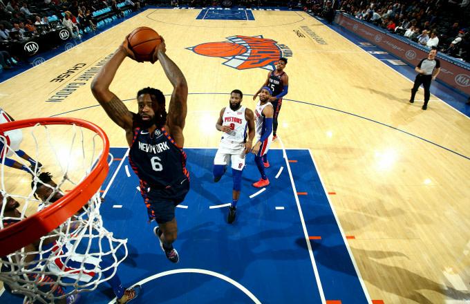 DeAndre Jordan #6 of the New York Knicks dunks the ball