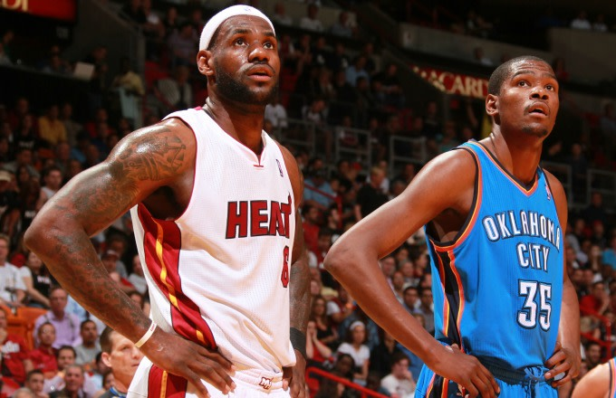 LeBron James and Kevin Durant during a game in 2011.