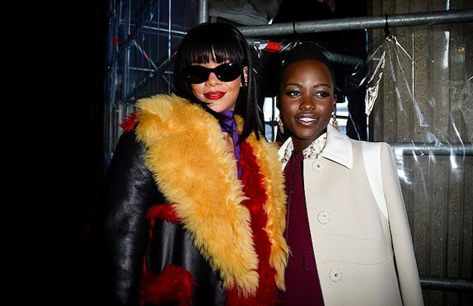 Rihanna and Lupita Nyong'o pose for photo together.