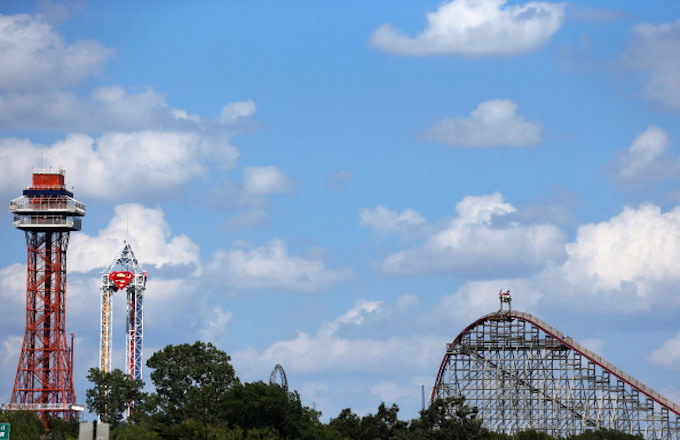 A view of The Texas Giant roller coaster (R) at Six Flags Over Texas