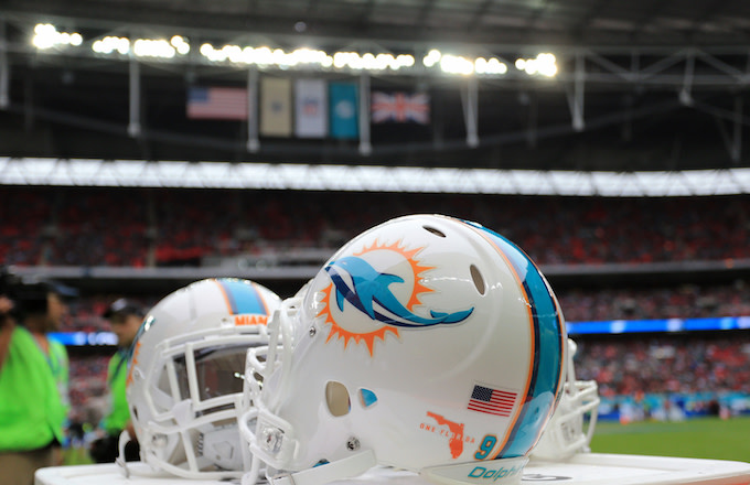 Miami Dolphins helmets.