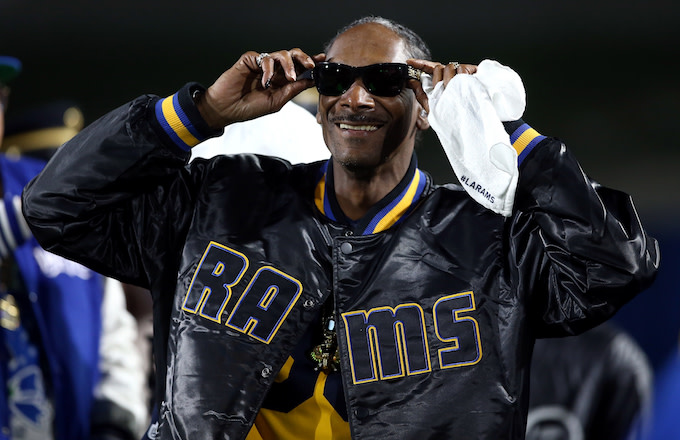 Snoop Dogg attends the NFC Wild Card Playoff Game.