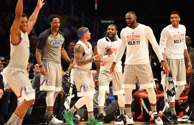 The Eastern Conference bench reacts during the 2017 NBA All-Star Game.