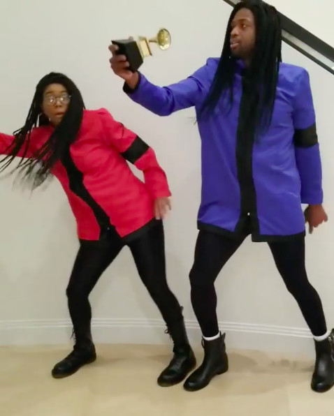 Gabrielle Union-Wade (L) and Dwyane Wade (R) dressed as Milli Vanilli for Halloween