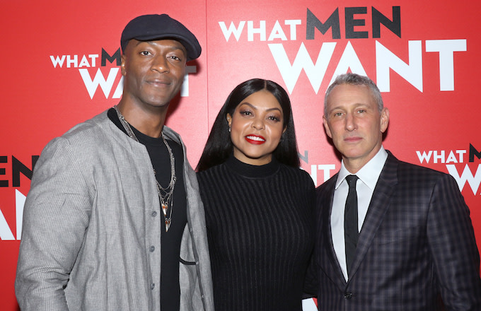 "Aldis Hodge, Taraji P. Henson and director Adam Shankman attend screening of ""What Men Want."""