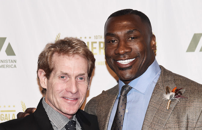 Skip Bayless and Shannon Sharpe at the 2016 IAVA Heroes Gala.