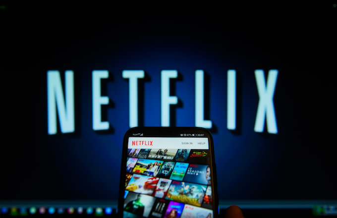 Netflix app is seen on an android mobile phone.