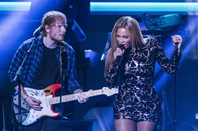 Beyonce and Ed Sheeran perform onstage