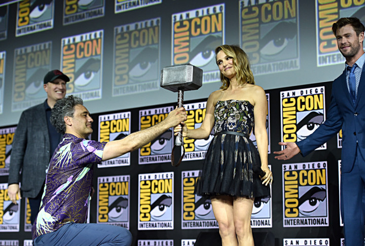 Kevin Feige, Taika Waititi, Natalie Portman and Chris Hemsworth at Comic-Con 2019