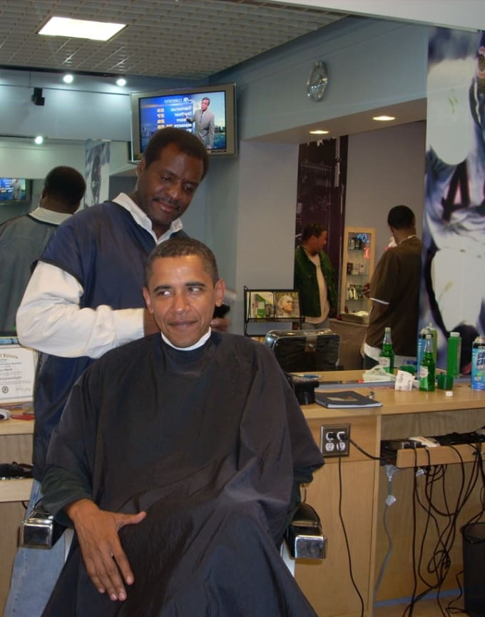 President Obama and his barber Zariff