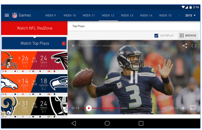 Screenshot from the NFL Mobile app