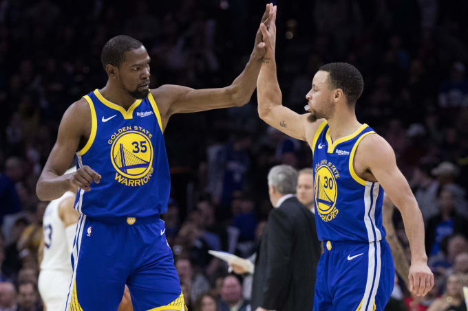 1f24acdfa925 Kevin Durant Steph Curry Warriors 76ers 2019