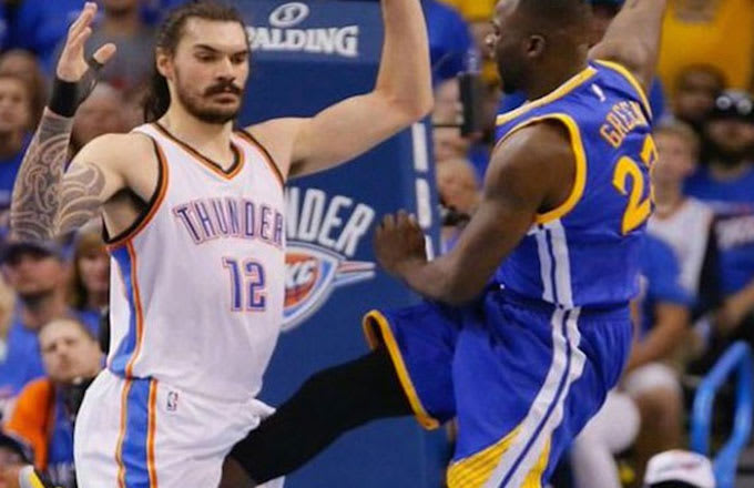 0d4f7914c0f6 Draymond Green boots Steven Adams in the balls during the 2016 NBA Playoffs.