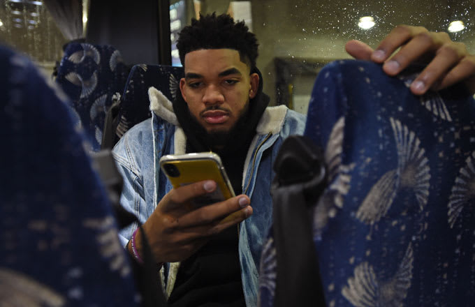 Karl-Anthony Towns arrives at the 2019 All-Star Game