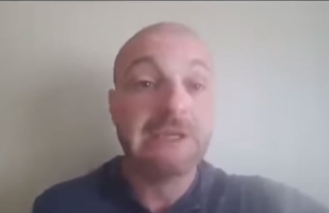 """The self-shot video of """"crying Nazi"""" Christopher Cantwell."""