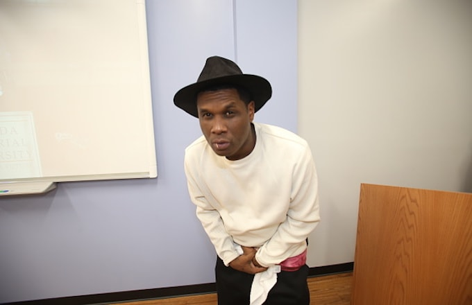 Jay Electronica poses backstage at Florida Memorial University