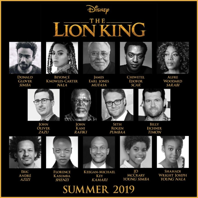 Lion King movie poster of cast.