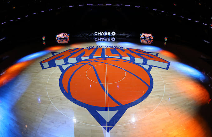 A general view of the New York Knicks logo.
