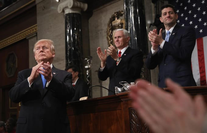 Donald Trump clapping for himself at his first State of the Union.