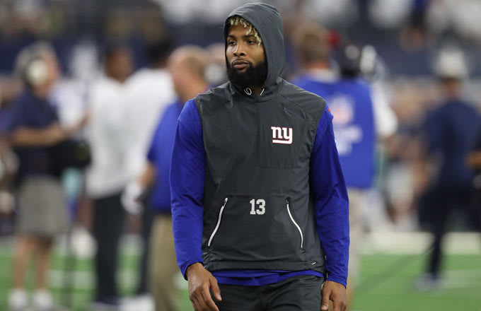 Odell Beckham Jr. walks on the field prior to Week 1 of the 2017 season against the Giants.