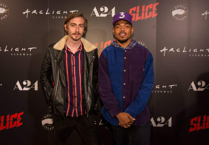 Austin Vesely with Chance the Rapper during the premiere of the film 'Slice'