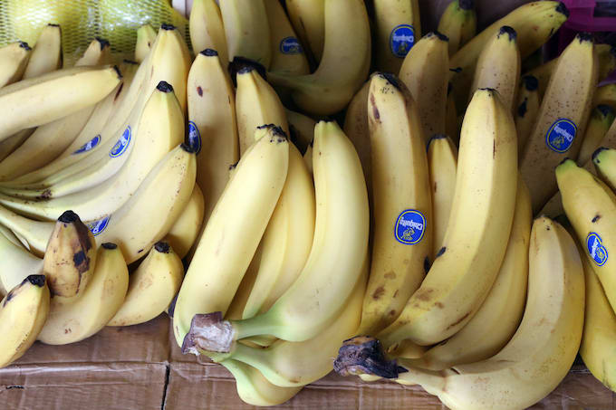 Bananas in a grocery store