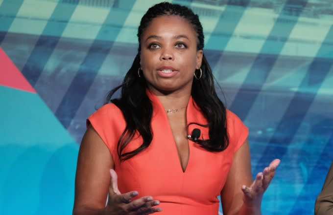 Jemele Hill speaks on a panel.