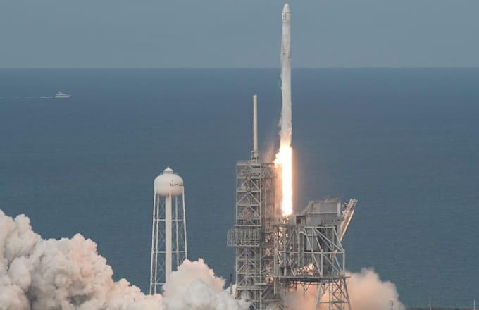 the SpaceX Falcon 9 rocket, with the Dragon spacecraft onboard, launches