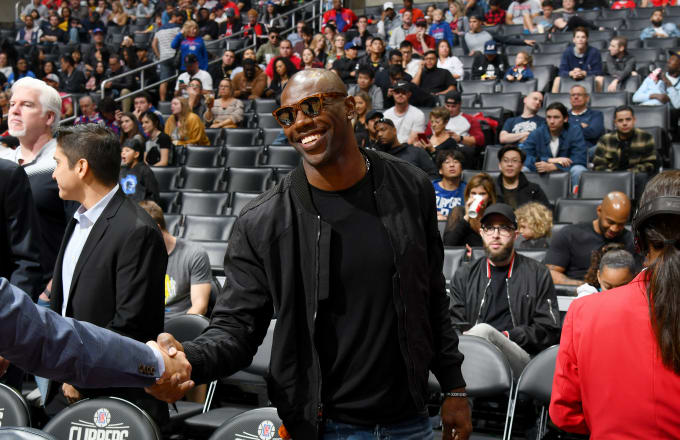 Terrell Owens attends the game between the Memphis Grizzlies and the LA Clippers