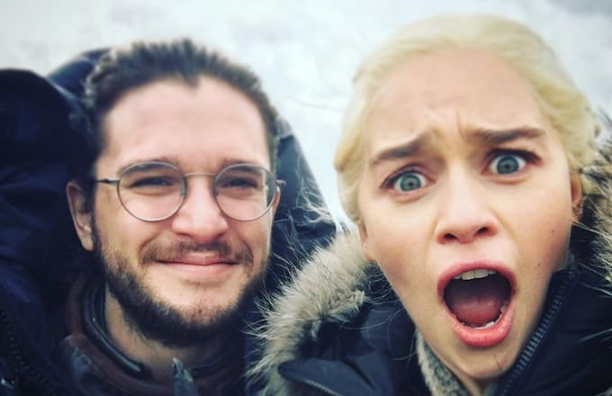 Kit Harrington and Emilia Clarke on Game of Thrones.